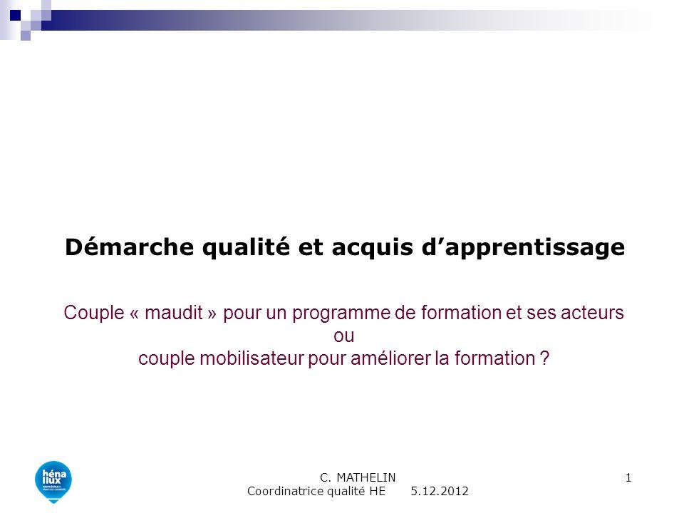 C. MATHELIN Coordinatrice qualité HE 5.12.2012 1 Démarche qualité et acquis dapprentissage Couple « maudit » pour un programme de formation et ses act