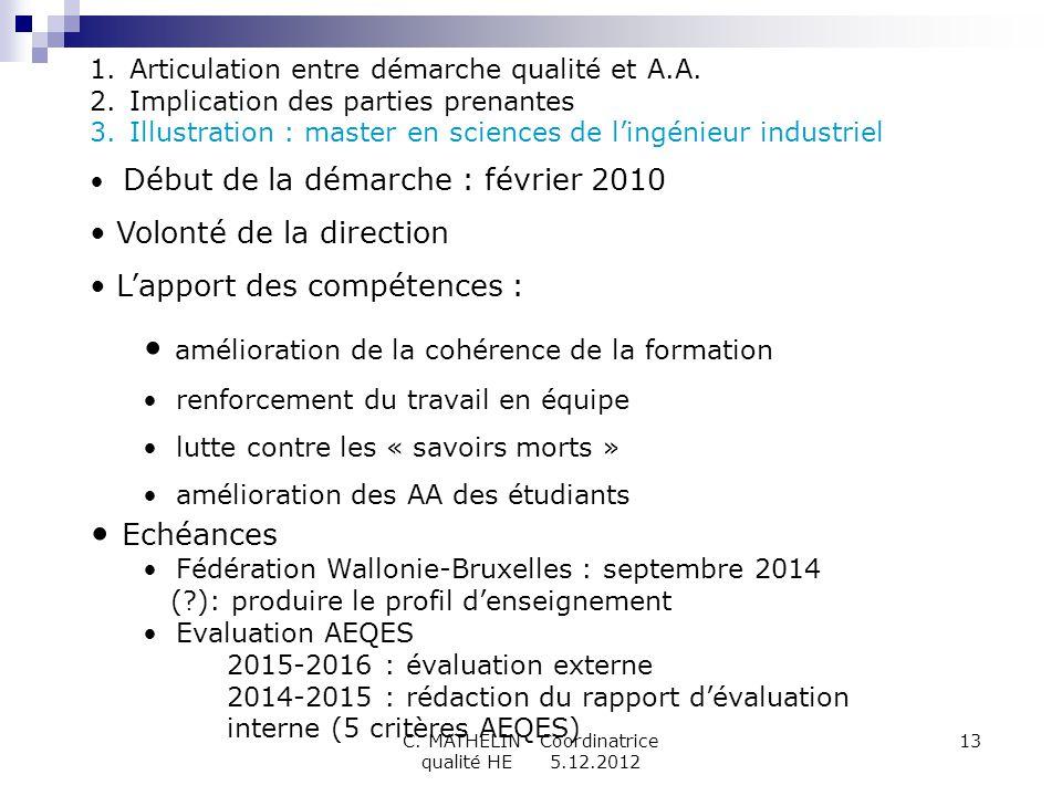 C. MATHELIN - Coordinatrice qualité HE 5.12.2012 13 1.Articulation entre démarche qualité et A.A. 2.Implication des parties prenantes 3.Illustration :
