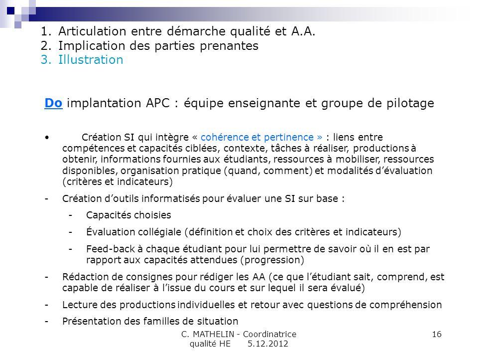 C. MATHELIN - Coordinatrice qualité HE 5.12.2012 16 Do implantation APC : équipe enseignante et groupe de pilotage Création SI qui intègre « cohérence