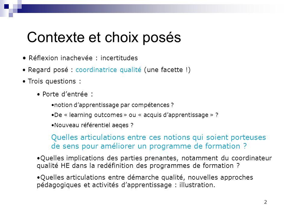 C.MATHELIN - Coordinatrice qualité HE 5.12.2012 13 1.Articulation entre démarche qualité et A.A.