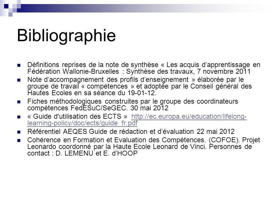 Bibliographie Définitions reprises de la note de synthèse « Les acquis dapprentissage en Fédération Wallonie-Bruxelles : Synthèse des travaux, 7 novem