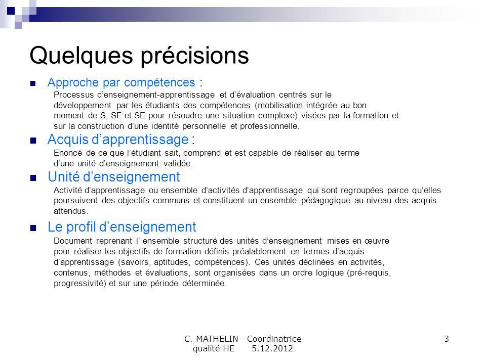 C. MATHELIN - Coordinatrice qualité HE 5.12.2012 3 Quelques précisions Approche par compétences : Processus denseignement-apprentissage et dévaluation