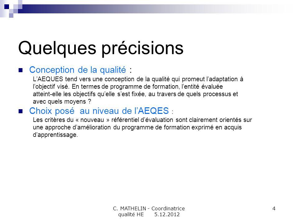 C. MATHELIN - Coordinatrice qualité HE 5.12.2012 4 Quelques précisions Conception de la qualité : LAEQUES tend vers une conception de la qualité qui p