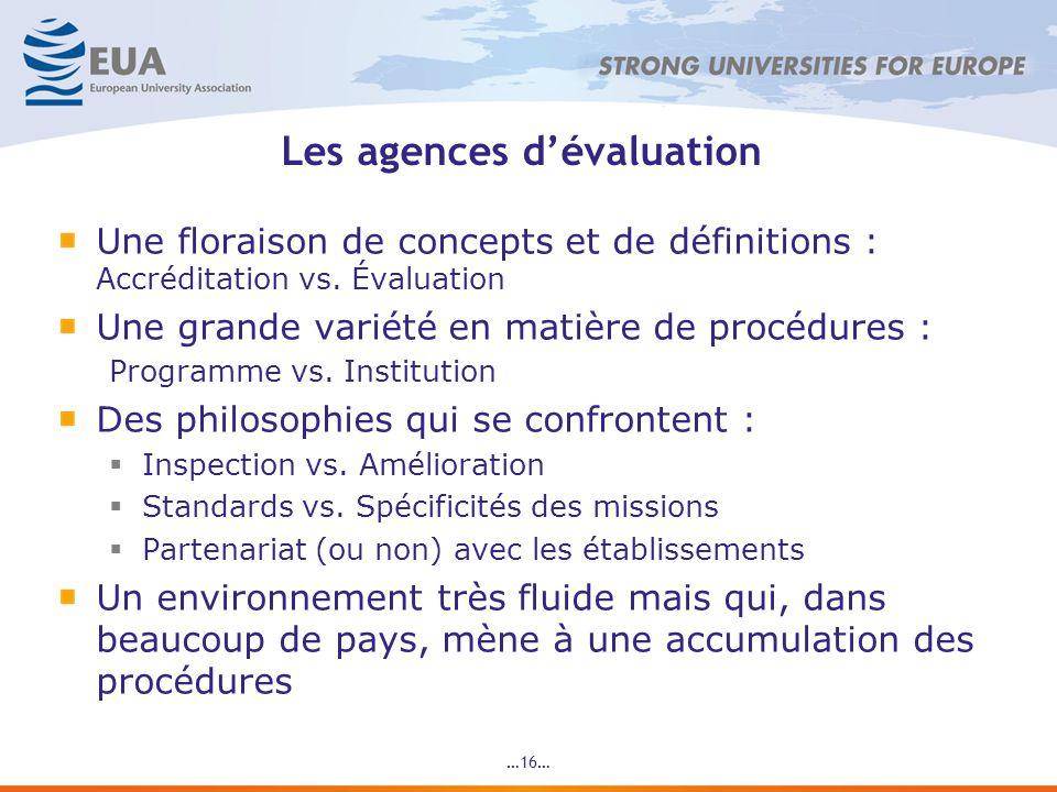 Les agences dévaluation Une floraison de concepts et de définitions : Accréditation vs.