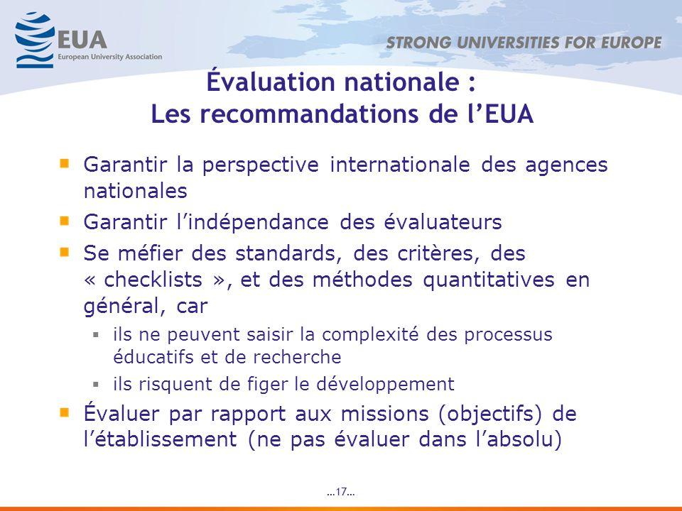 …17… Évaluation nationale : Les recommandations de lEUA Garantir la perspective internationale des agences nationales Garantir lindépendance des évaluateurs Se méfier des standards, des critères, des « checklists », et des méthodes quantitatives en général, car ils ne peuvent saisir la complexité des processus éducatifs et de recherche ils risquent de figer le développement Évaluer par rapport aux missions (objectifs) de létablissement (ne pas évaluer dans labsolu)