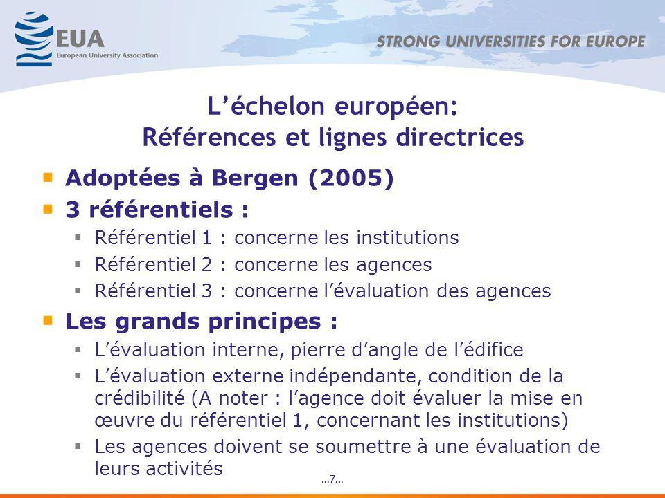 …8… Le registre européen des agences : un partenariat Les acteurs : LE4 (institutions, étudiants, agences) avec les partenaires sociaux (Business Europe et EI) Les gouvernements en tant quobservateurs Les objectifs politiques de ce partenariat : Asseoir la légitimité et lindépendance du registre sur un partenariat qui préserve les équilibres Améliorer la qualité au niveau des institutions et des agences Un signe clair, au niveau international, que lEurope sorganise pour assurer la qualité de son ES => Observé avec intérêt de par le monde