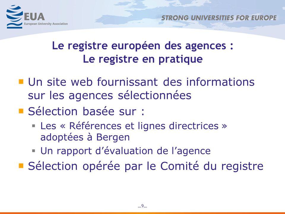 …9… Le registre européen des agences : Le registre en pratique Un site web fournissant des informations sur les agences sélectionnées Sélection basée sur : Les « Références et lignes directrices » adoptées à Bergen Un rapport dévaluation de lagence Sélection opérée par le Comité du registre