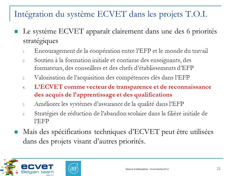 Intégration du système ECVET dans les projets T.O.I.