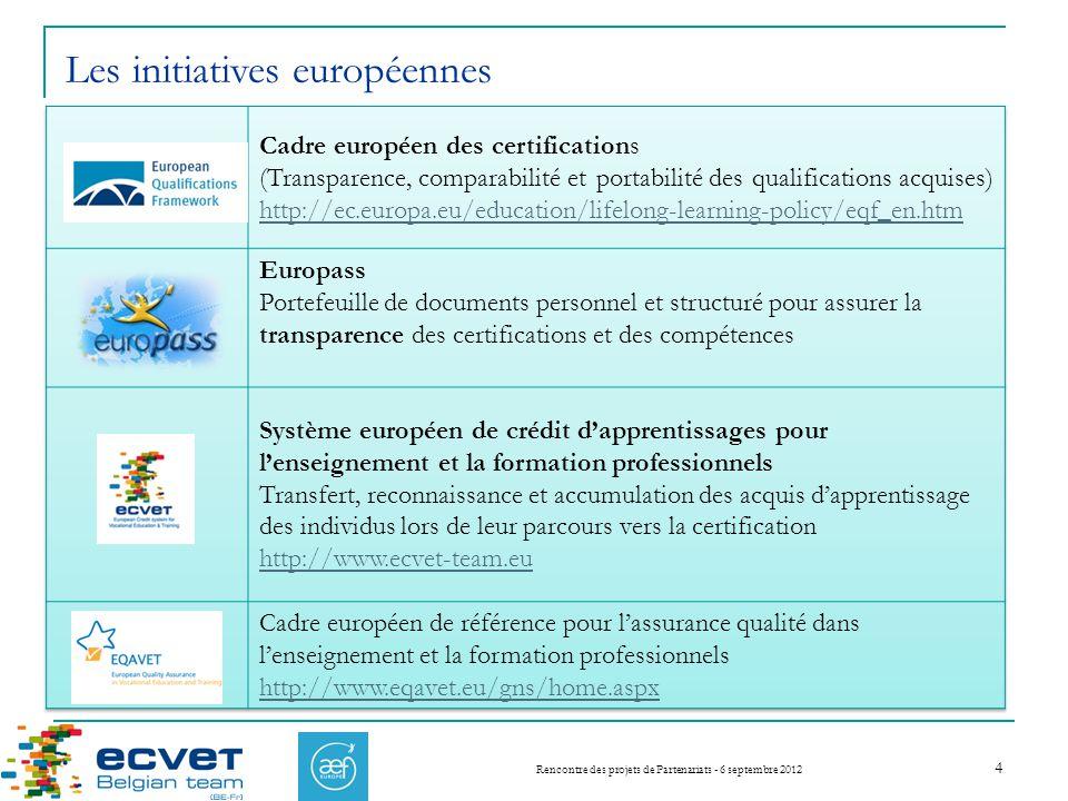Rencontre des projets de Partenariats - 6 septembre 2012 4 Les initiatives européennes