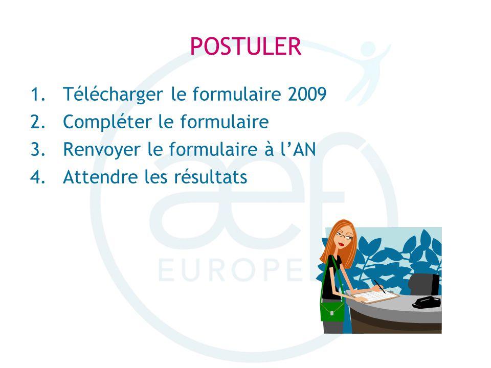 POSTULER 1.Télécharger le formulaire 2009 2.Compléter le formulaire 3.Renvoyer le formulaire à lAN 4.Attendre les résultats