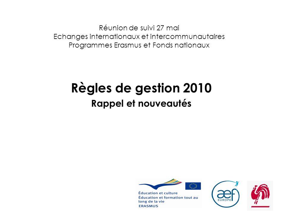 1 Réunion de suivi 27 mai Echanges internationaux et intercommunautaires Programmes Erasmus et Fonds nationaux Règles de gestion 2010 Rappel et nouvea