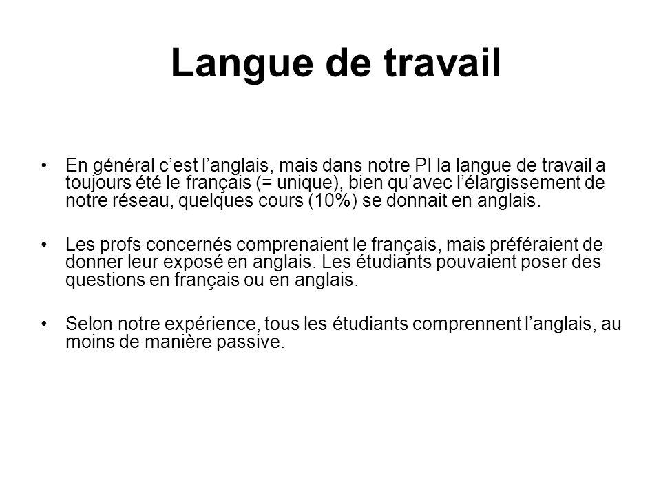 Langue de travail En général cest langlais, mais dans notre PI la langue de travail a toujours été le français (= unique), bien quavec lélargissement