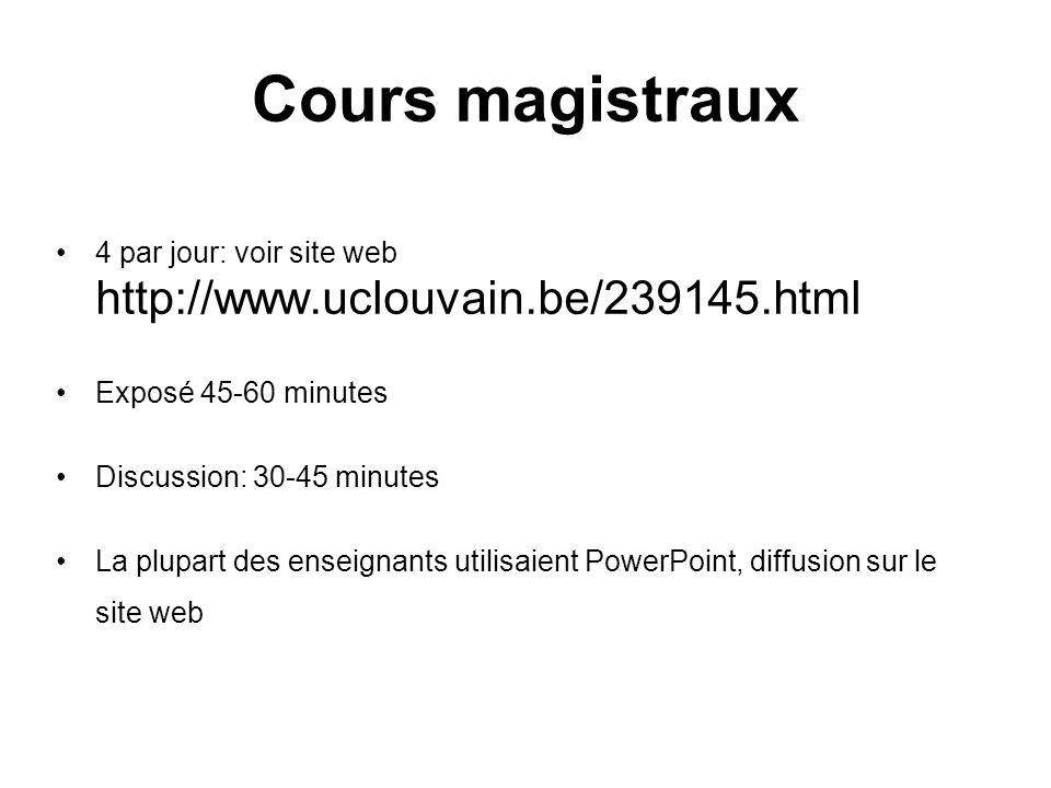 Cours magistraux 4 par jour: voir site web http://www.uclouvain.be/239145.html Exposé 45-60 minutes Discussion: 30-45 minutes La plupart des enseignan