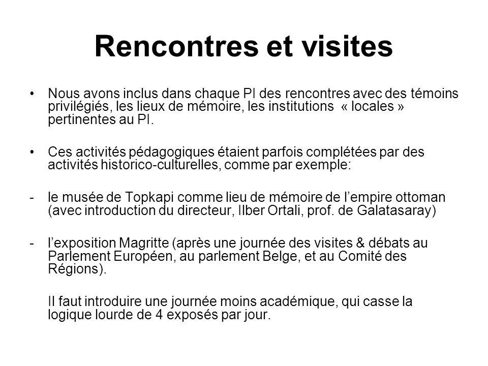 Rencontres et visites Nous avons inclus dans chaque PI des rencontres avec des témoins privilégiés, les lieux de mémoire, les institutions « locales »