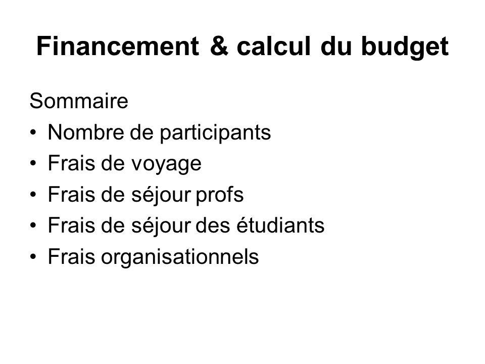 Financement & calcul du budget Sommaire Nombre de participants Frais de voyage Frais de séjour profs Frais de séjour des étudiants Frais organisationn
