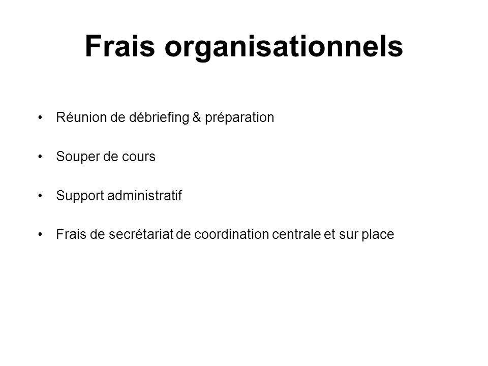 Frais organisationnels Réunion de débriefing & préparation Souper de cours Support administratif Frais de secrétariat de coordination centrale et sur