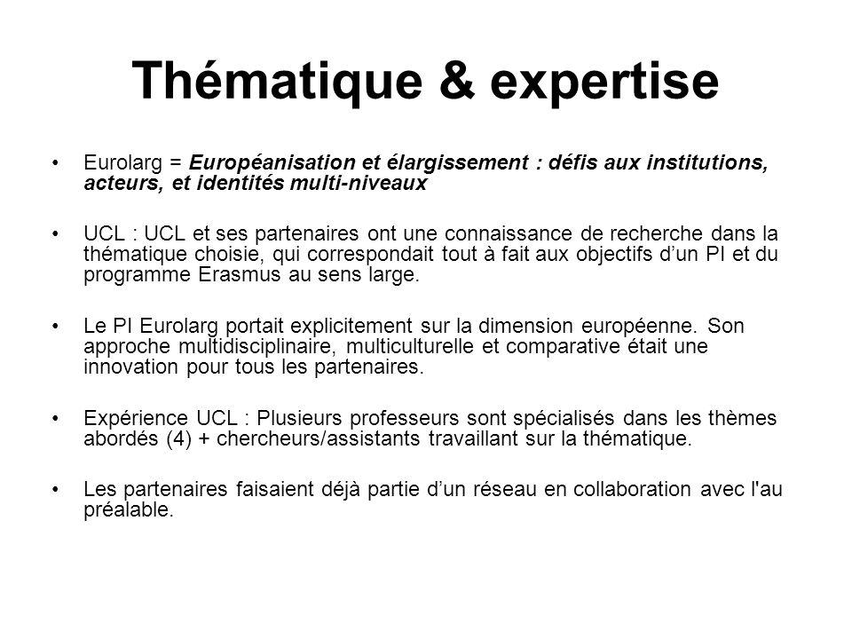 Thématique & expertise Eurolarg = Européanisation et élargissement : défis aux institutions, acteurs, et identités multi-niveaux UCL : UCL et ses part