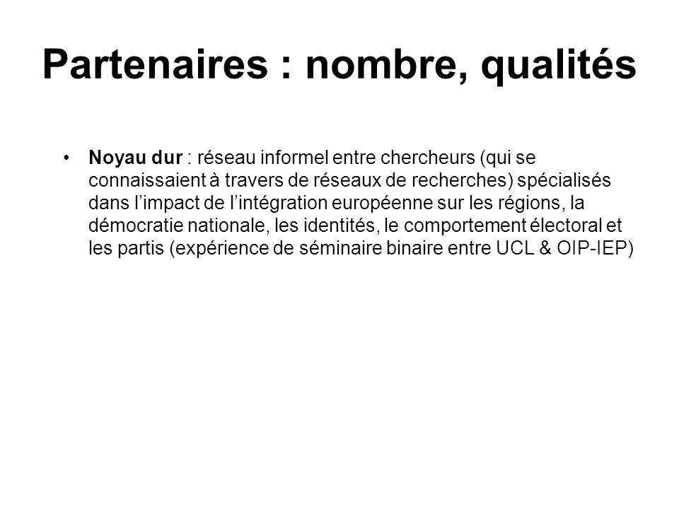 Partenaires : nombre, qualités Noyau dur : réseau informel entre chercheurs (qui se connaissaient à travers de réseaux de recherches) spécialisés dans