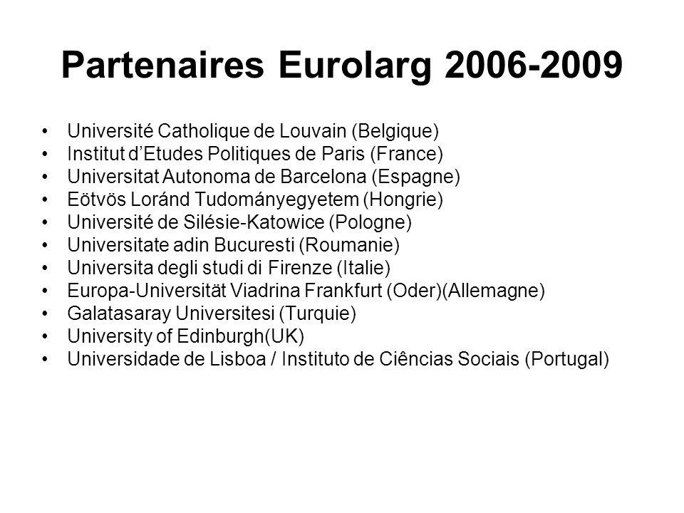 Partenaires Eurolarg 2006-2009 Université Catholique de Louvain (Belgique) Institut dEtudes Politiques de Paris (France) Universitat Autonoma de Barce