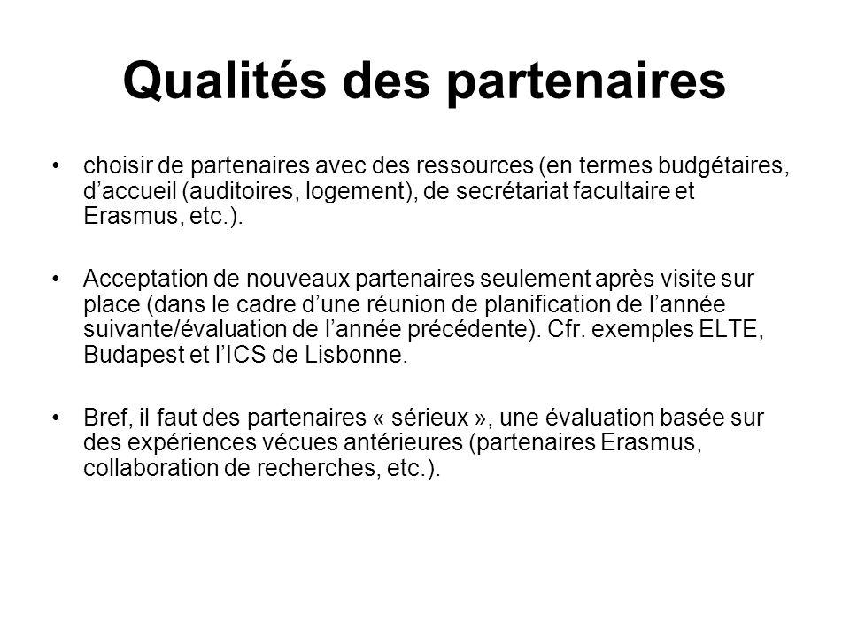 Qualités des partenaires choisir de partenaires avec des ressources (en termes budgétaires, daccueil (auditoires, logement), de secrétariat facultaire