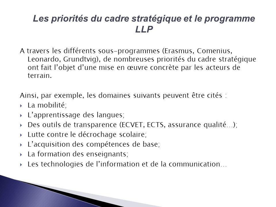 A travers les différents sous-programmes (Erasmus, Comenius, Leonardo, Grundtvig), de nombreuses priorités du cadre stratégique ont fait lobjet dune mise en œuvre concrète par les acteurs de terrain.