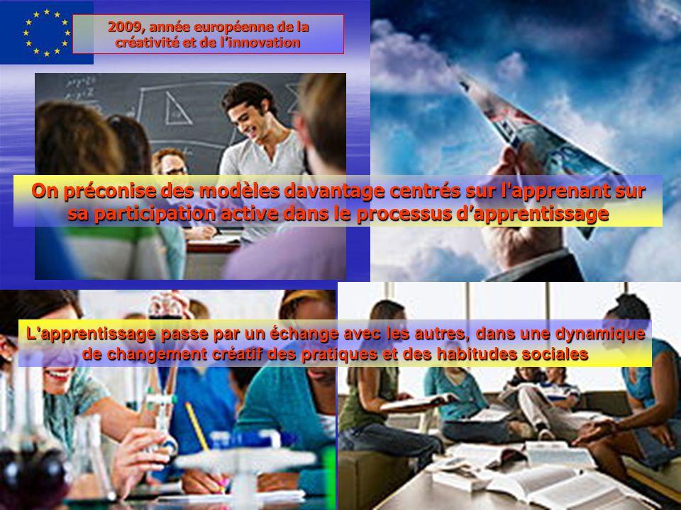 2009, année européenne de la créativité et de linnovation On préconise des modèles davantage centrés sur l apprenant sur sa participation active dans le processus dapprentissage L apprentissage passe par un échange avec les autres, dans une dynamique de changement créatif des pratiques et des habitudes sociales