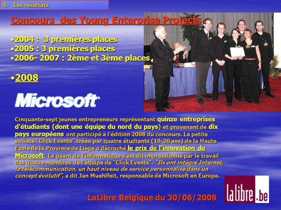 Cinquante-sept jeunes entrepreneurs représentant quinze entreprises d étudiants (dont une équipe du nord du pays) et provenant de dix pays européens ont participé à l édition 2008 du concours.