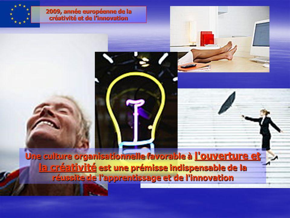 2009, année européenne de la créativité et de linnovation Une culture organisationnelle favorable à l ouverture et la créativité est une prémisse indispensable de la réussite de l apprentissage et de l innovation
