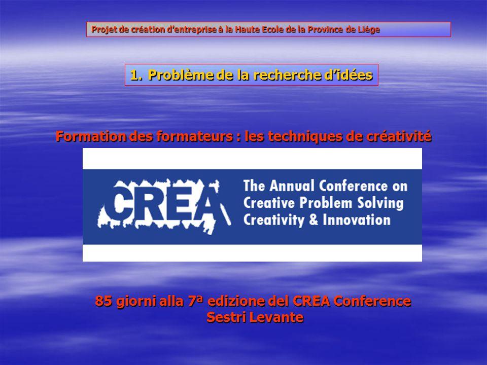 85 giorni alla 7ª edizione del CREA Conference Sestri Levante Formation des formateurs : les techniques de créativité 1.Problème de la recherche didées Projet de création dentreprise à la Haute Ecole de la Province de Liège