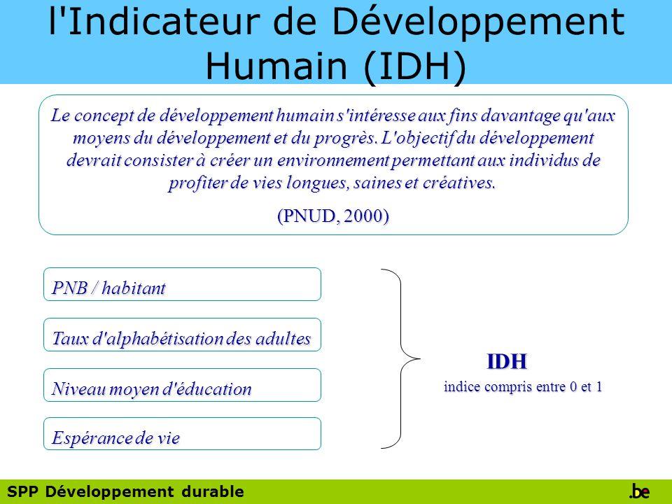 SPP Développement durable l Indicateur de Développement Humain (IDH) Le concept de développement humain s intéresse aux fins davantage qu aux moyens du développement et du progrès.