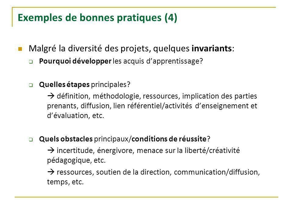 Exemples de bonnes pratiques (4) Malgré la diversité des projets, quelques invariants: Pourquoi développer les acquis dapprentissage.