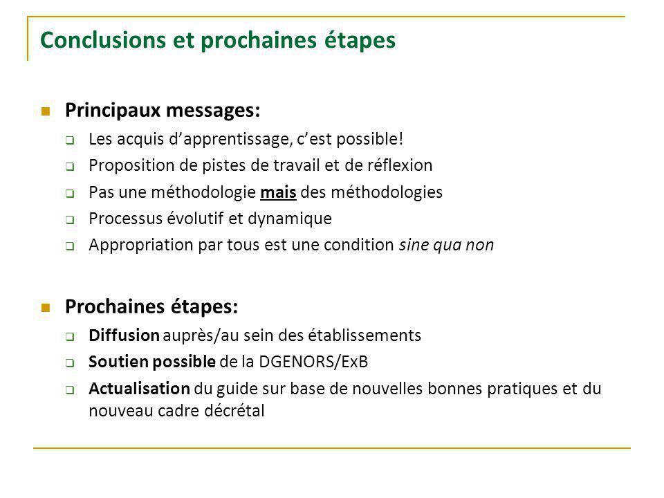 Conclusions et prochaines étapes Principaux messages: Les acquis dapprentissage, cest possible.