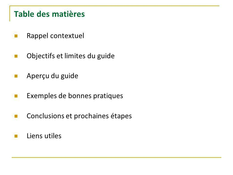 Table des matières Rappel contextuel Objectifs et limites du guide Aperçu du guide Exemples de bonnes pratiques Conclusions et prochaines étapes Liens utiles