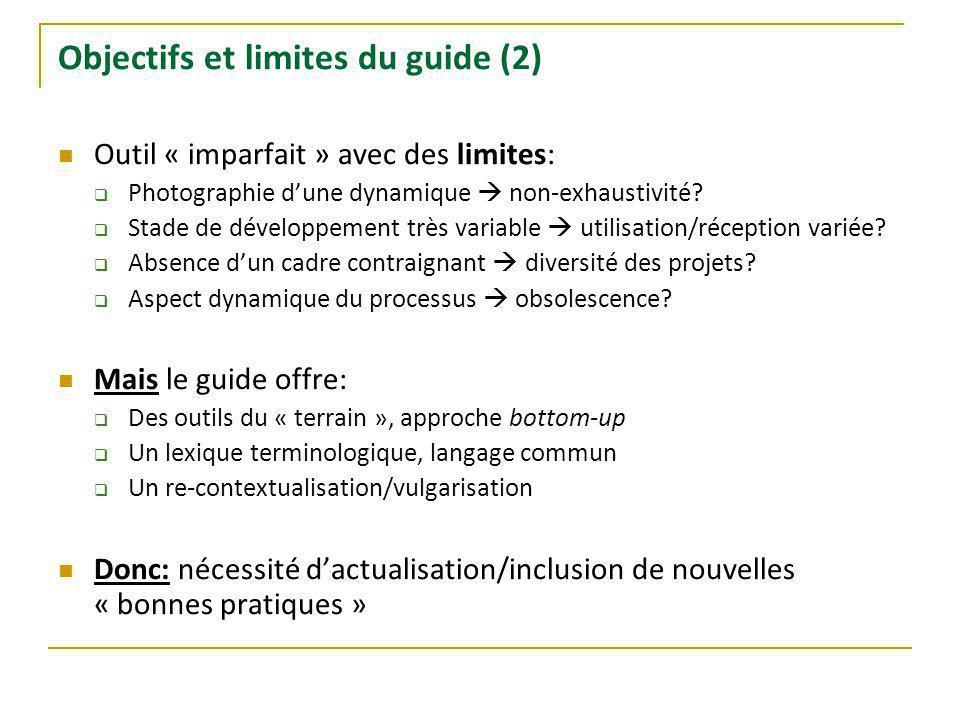 Objectifs et limites du guide (2) Outil « imparfait » avec des limites: Photographie dune dynamique non-exhaustivité.