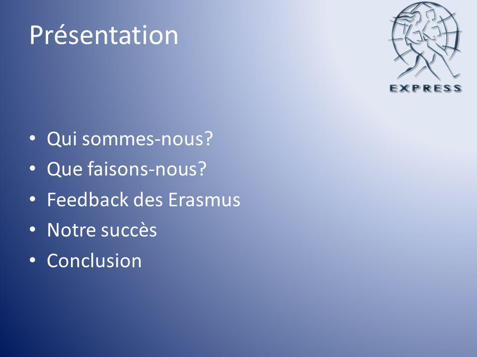 Présentation Qui sommes-nous? Que faisons-nous? Feedback des Erasmus Notre succès Conclusion