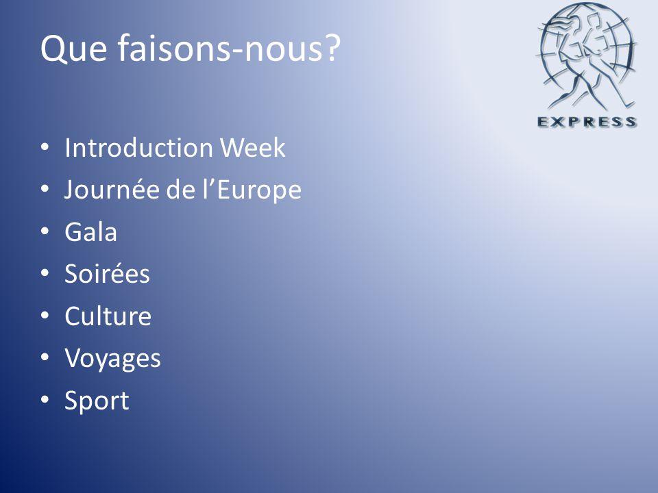 Que faisons-nous? Introduction Week Journée de lEurope Gala Soirées Culture Voyages Sport