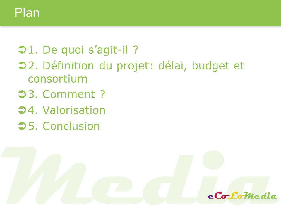 Plan 1.De quoi sagit-il . 2. Définition du projet: délai, budget et consortium 3.