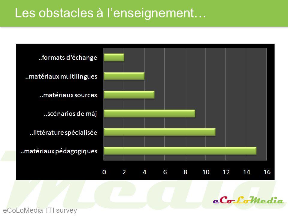Les obstacles à lenseignement… eCoLoMedia ITI survey