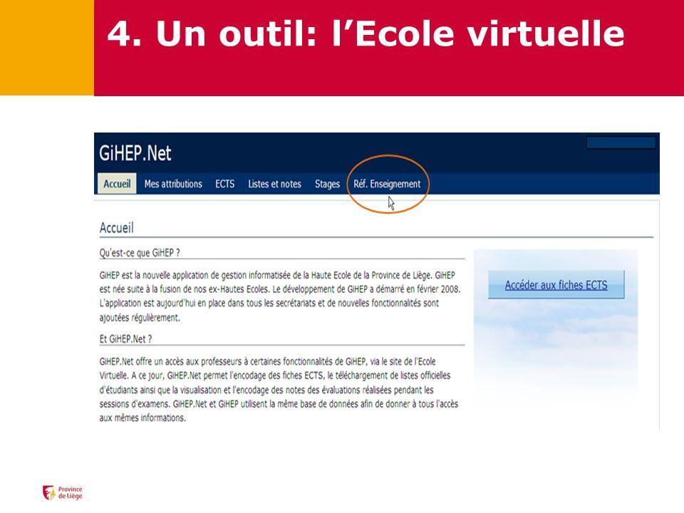 4. Un outil: lEcole virtuelle