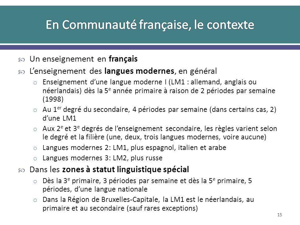 Un enseignement en français Lenseignement des langues modernes, en général o Enseignement dune langue moderne I (LM1 : allemand, anglais ou néerlandais) dès la 5 e année primaire à raison de 2 périodes par semaine (1998) o Au 1 er degré du secondaire, 4 périodes par semaine (dans certains cas, 2) dune LM1 o Aux 2 e et 3 e degrés de lenseignement secondaire, les règles varient selon le degré et la filière (une, deux, trois langues modernes, voire aucune) o Langues modernes 2: LM1, plus espagnol, italien et arabe o Langues modernes 3: LM2, plus russe Dans les zones à statut linguistique spécial o Dès la 3 e primaire, 3 périodes par semaine et dès la 5 e primaire, 5 périodes, dune langue nationale o Dans la Région de Bruxelles-Capitale, la LM1 est le néerlandais, au primaire et au secondaire (sauf rares exceptions) 15