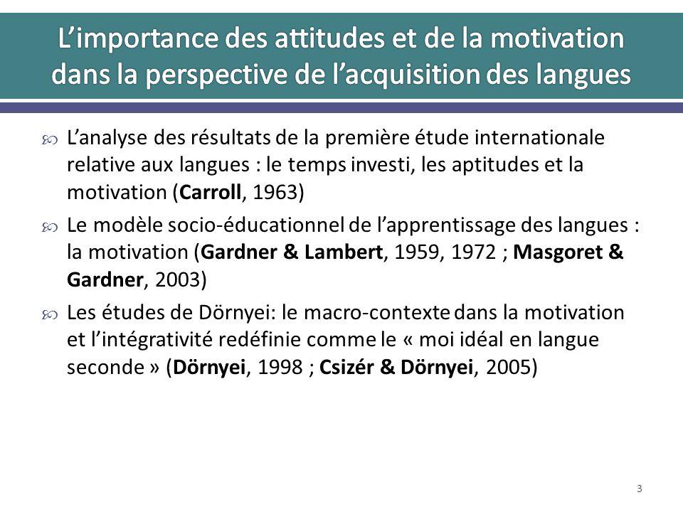 Lanalyse des résultats de la première étude internationale relative aux langues : le temps investi, les aptitudes et la motivation (Carroll, 1963) Le modèle socio-éducationnel de lapprentissage des langues : la motivation (Gardner & Lambert, 1959, 1972 ; Masgoret & Gardner, 2003) Les études de Dörnyei: le macro-contexte dans la motivation et lintégrativité redéfinie comme le « moi idéal en langue seconde » (Dörnyei, 1998 ; Csizér & Dörnyei, 2005) 3