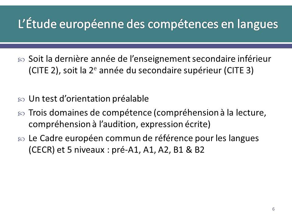 Soit la dernière année de lenseignement secondaire inférieur (CITE 2), soit la 2 e année du secondaire supérieur (CITE 3) Un test dorientation préalable Trois domaines de compétence (compréhension à la lecture, compréhension à laudition, expression écrite) Le Cadre européen commun de référence pour les langues (CECR) et 5 niveaux : pré-A1, A1, A2, B1 & B2 6