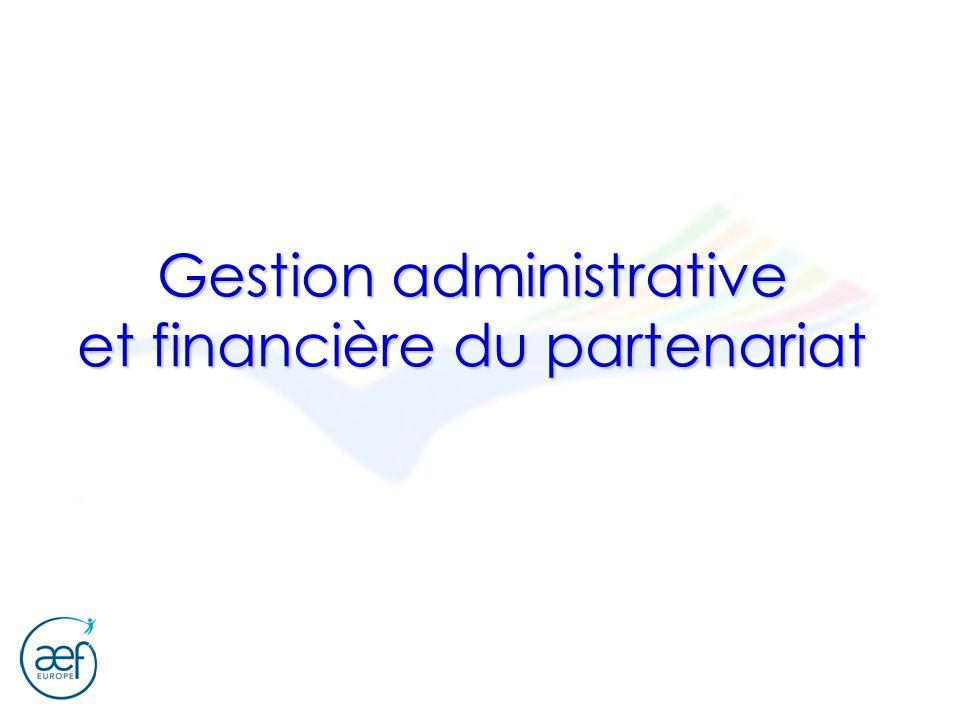 Gestion administrative et financière du partenariat