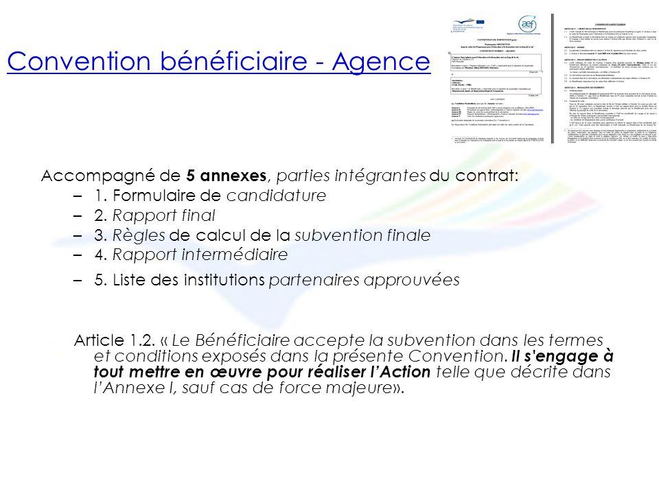 Convention bénéficiaire - Agence Accompagné de 5 annexes, parties intégrantes du contrat: –1.