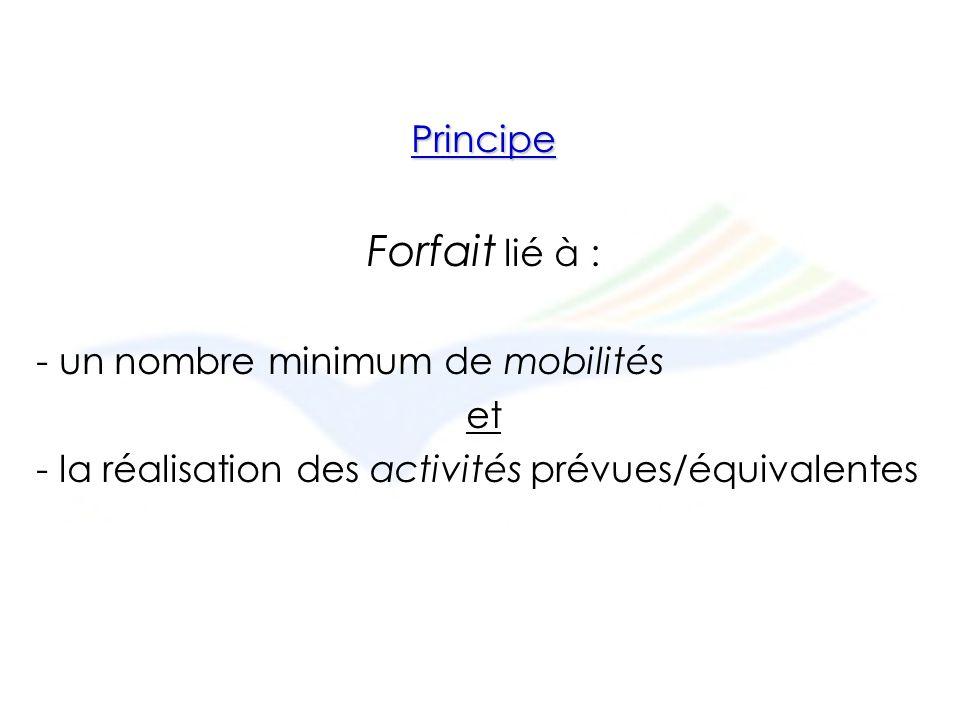 Principe Forfait lié à : - un nombre minimum de mobilités et - la réalisation des activités prévues/équivalentes