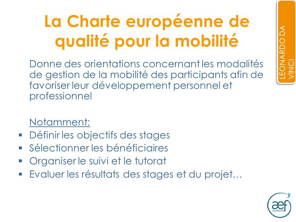 La Charte européenne de qualité pour la mobilité Donne des orientations concernant les modalités de gestion de la mobilité des participants afin de favoriser leur développement personnel et professionnel Notamment: Définir les objectifs des stages Sélectionner les bénéficiaires Organiser le suivi et le tutorat Evaluer les résultats des stages et du projet… LEONARDO DA VINCI