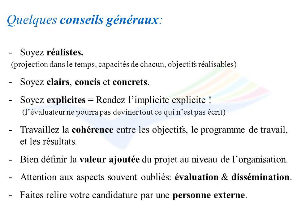 Quelques conseils généraux: -Soyez réalistes. (projection dans le temps, capacités de chacun, objectifs réalisables) -Soyez clairs, concis et concrets