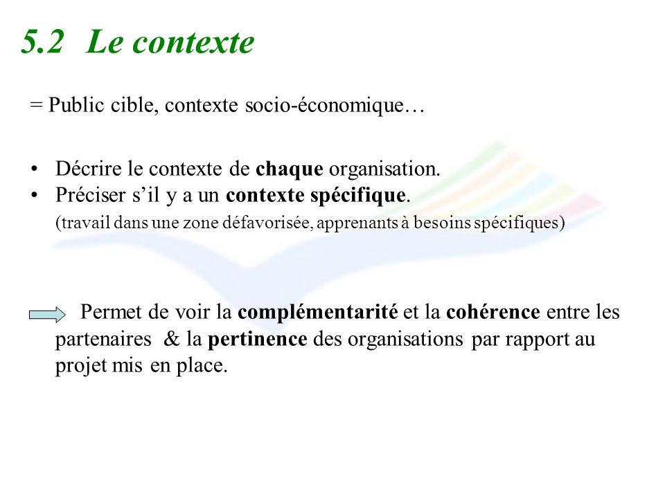 5.2Le contexte = Public cible, contexte socio-économique… Décrire le contexte de chaque organisation. Préciser sil y a un contexte spécifique. (travai