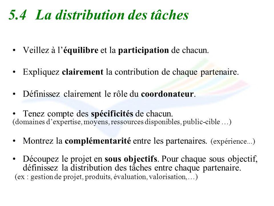 5.4La distribution des tâches Veillez à léquilibre et la participation de chacun. Expliquez clairement la contribution de chaque partenaire. Définisse