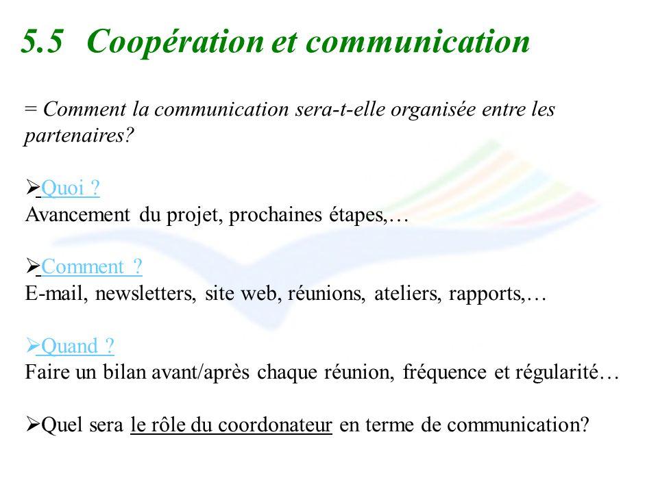 5.5Coopération et communication = Comment la communication sera-t-elle organisée entre les partenaires? Quoi ? Avancement du projet, prochaines étapes